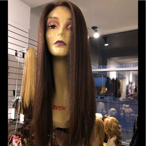 Accessories - Fulllace Long brown Wig human hair blende 2019 Wig
